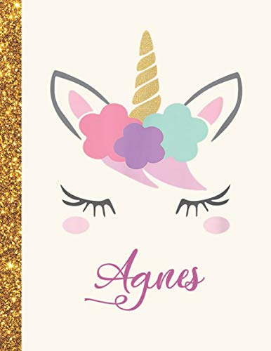 Agnes: Agnes Unicorn Personalized Black Paper SketchBook for Girls and Kids to Drawing and Sketching Doodle Taking Note Marble Size 8.5 x 11