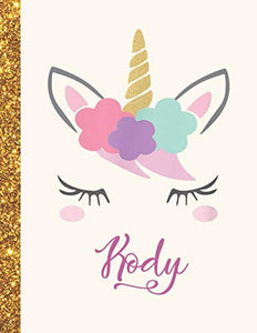 Kody: Kody Unicorn Personalized Black Paper SketchBook for Girls and Kids to Drawing and Sketching Doodle Taking Note Marble Size 8.5 x 11