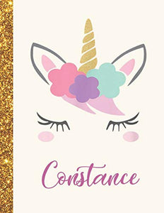 Constance: Constance Unicorn Personalized Black Paper SketchBook for Girls and Kids to Drawing and Sketching Doodle Taking Note Marble Size 8.5 x 11