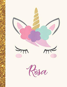 Rosa: Rosa Unicorn Personalized Black Paper SketchBook for Girls and Kids to Drawing and Sketching Doodle Taking Note Marble Size 8.5 x 11