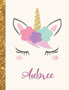 Aubree: Aubree Unicorn Personalized Black Paper SketchBook for Girls and Kids to Drawing and Sketching Doodle Taking Note Marble Size 8.5 x 11