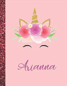 Arianna: Arianna Marble Size Unicorn SketchBook Personalized White Paper for Girls and Kids to Drawing and Sketching Doodle Taking Note Size 8.5 x 11