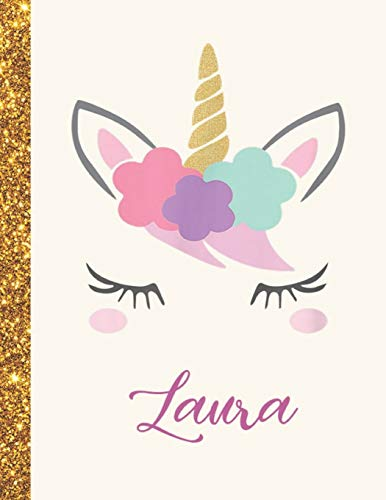 Laura: Laura Unicorn Personalized Black Paper SketchBook for Girls and Kids to Drawing and Sketching Doodle Taking Note Marble Size 8.5 x 11
