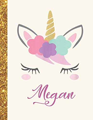 Megan: Megan Unicorn Personalized Black Paper SketchBook for Girls and Kids to Drawing and Sketching Doodle Taking Note Marble Size 8.5 x 11