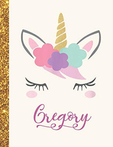 Gregory: Gregory Unicorn Personalized Black Paper SketchBook for Girls and Kids to Drawing and Sketching Doodle Taking Note Marble Size 8.5 x 11