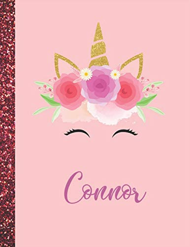 Connor: Connor Marble Size Unicorn SketchBook Personalized White Paper for Girls and Kids to Drawing and Sketching Doodle Taking Note Size 8.5 x 11