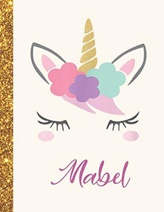 Mabel: Mabel Unicorn Personalized Black Paper SketchBook for Girls and Kids to Drawing and Sketching Doodle Taking Note Marble Size 8.5 x 11