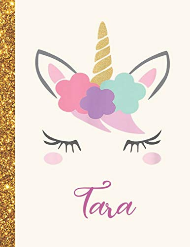 Tara: Tara Unicorn Personalized Black Paper SketchBook for Girls and Kids to Drawing and Sketching Doodle Taking Note Marble Size 8.5 x 11