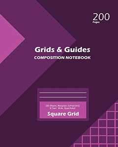 Grids and Guides Square Grid, Quad Ruled, Composition Notebook, 100 Sheets, Large Size 8 x 10 Inch Purple Cover