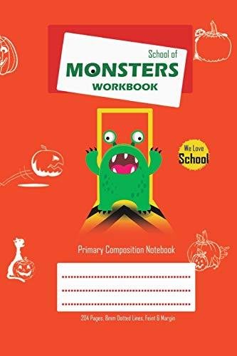 School of Monsters Workbook, A5 Size, Wide Ruled, White Paper, Primary Composition Notebook, 102 Sheets (Orange)