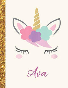 Ava: Ava Unicorn Personalized Black Paper SketchBook for Girls and Kids to Drawing and Sketching Doodle Taking Note Marble Size 8.5 x 11