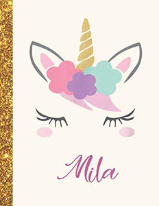 Mila: Mila Unicorn Personalized Black Paper SketchBook for Girls and Kids to Drawing and Sketching Doodle Taking Note Marble Size 8.5 x 11
