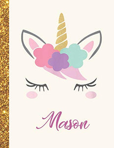 Mason: Mason Unicorn Personalized Black Paper SketchBook for Girls and Kids to Drawing and Sketching Doodle Taking Note Marble Size 8.5 x 11