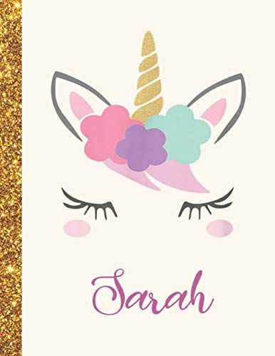 Sarah: Sarah Unicorn Personalized Black Paper SketchBook for Girls and Kids to Drawing and Sketching Doodle Taking Note Marble Size 8.5 x 11