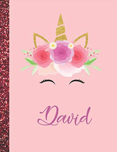 David: David Marble Size Unicorn SketchBook Personalized White Paper for Girls and Kids to Drawing and Sketching Doodle Taking Note Size 8.5 x 11