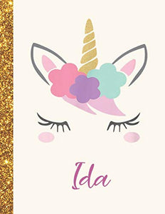 Ida: Ida Unicorn Personalized Black Paper SketchBook for Girls and Kids to Drawing and Sketching Doodle Taking Note Marble Size 8.5 x 11