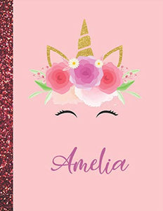 Amelia: Amelia Marble Size Unicorn SketchBook Personalized White Paper for Girls and Kids to Drawing and Sketching Doodle Taking Note Size 8.5 x 11