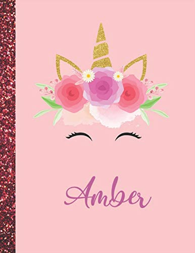 Amber: Amber Marble Size Unicorn SketchBook Personalized White Paper for Girls and Kids to Drawing and Sketching Doodle Taking Note Size 8.5 x 11