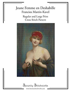 Jeune Femme en Deshabille - Francios Martin-Kavel - Cross Stitch Pattern: Regular and Large Print Cross Stitch Charts