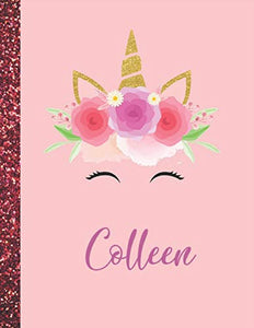 Colleen: Colleen Marble Size Unicorn SketchBook Personalized White Paper for Girls and Kids to Drawing and Sketching Doodle Taking Note Size 8.5 x 11
