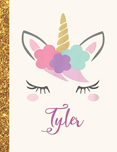 Tyler: Tyler Unicorn Personalized Black Paper SketchBook for Girls and Kids to Drawing and Sketching Doodle Taking Note Marble Size 8.5 x 11