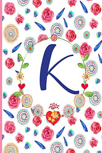 K: K: Monogram Initials Notebook for Women and Girls, Pink Floral  110 page 6x9 inch ,