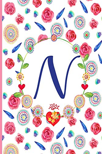 N: N: Monogram Initials Notebook for Women and Girls, Pink Floral  110 page 6x9 inch ,