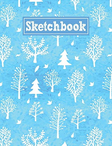 Sketchbook: 8.5 x 11 Notebook for Creative Drawing and Sketching Activities with Watercolor Trees Themed Cover Design