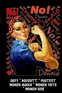 No Donald Trump - Defy - Boycott - Protest: Feminist Gift for Women's March - 6 x 9 Cornell Notes Notebook For Wild Women Progressive Political Activists