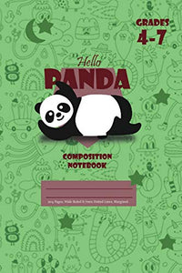 Hello Panda Primary Composition 4-7 Notebook, 102 Sheets, 6 x 9 Inch Green Cover