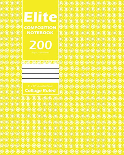 Elite Composition Notebook, Collage Ruled 8 x 10 Inch, Large 100 Sheet, Yellow Cover