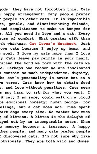 Cat Lover's Notebook: Cat and Kitten Appreciation Quotes Notebook Gift for Women to Write