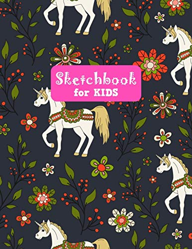 Sketchbook for Kids: Adorable Unicorn Large Sketch Book for Drawing, Writing, Painting, Sketching, Doodling and Activity Book- Birthday and Christmas ... Boys, Teens and Women - Lilly Design # 0075