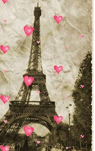 paris Eiffel Tower pink hearts Vintage creative blank page journal