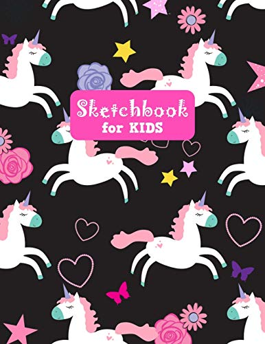 Sketchbook for Kids: Cute Unicorn Large Sketch Book for Drawing, Writing, Painting, Sketching, Doodling and Activity Book- Birthday and Christmas Gift ... Boys, Teens and Women - Lilly Design # 0086