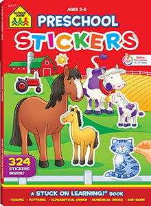 School Zone - Preschool Stickers Workbook - Ages 3 to 6, Preschool to Kindergarten, Shapes, Patterns, ABC's, Numbers, and Letters (School Zone Stuck on Learning® Book Series) (Sticker Workbooks)