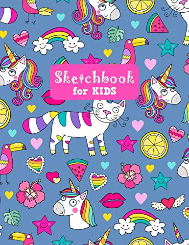 Sketchbook for Kids: Cute Unicorn Large Sketch Book for Sketching, Drawing, Creative Doodling Notepad and Activity Book - Birthday and Christmas Gift ... Girls, Teens and Women - Lilly Design # 0078