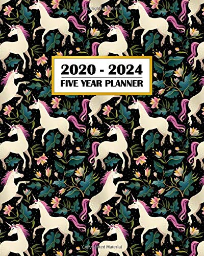2020-2024 Five Year Planner: Pretty Dancing Unicorn | Fantasy Princess Pattern | 60 Month Calendar and Log Book | Business Team Time Management Plan | ... 5 Year - 2020 2021 2022 2023 2024 Calendar)