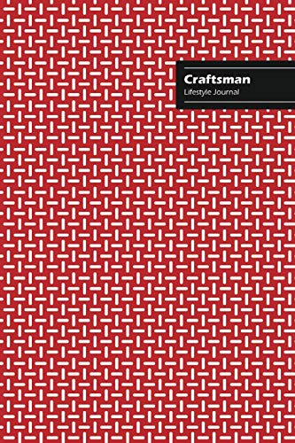 Craftsman Lifestyle Journal, Creative Write-in Notebook, Dotted Lines, Wide Ruled, Medium Size (A5), 6 x 9 (Red)