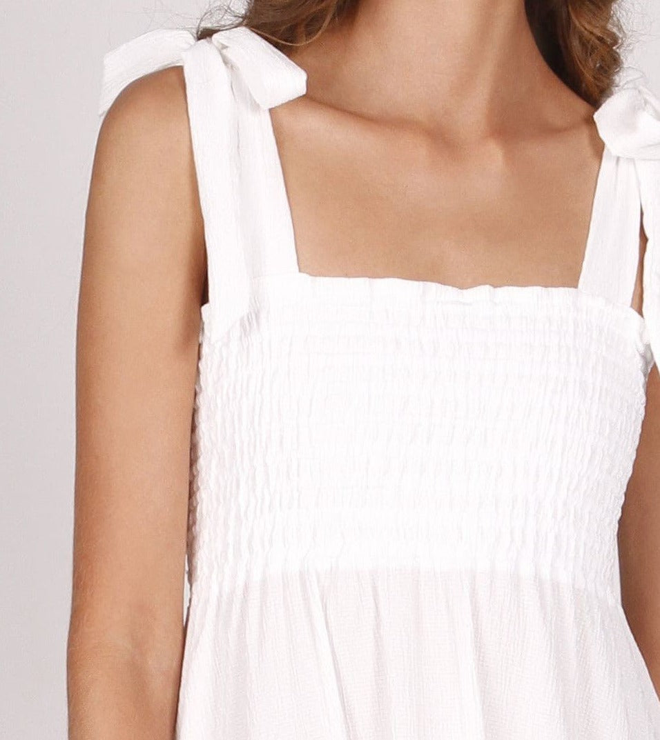 I Dream White Ruched Dress