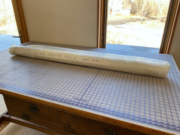 "Ivory Voile Fabric on the Bolt: 35 Yards x 118"" width"