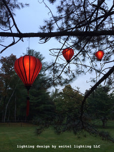 Small Red Silk Lanterns: Set of 7