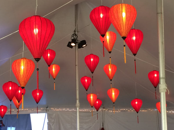 Large Red and Orange Silk Lanterns: Set of 24