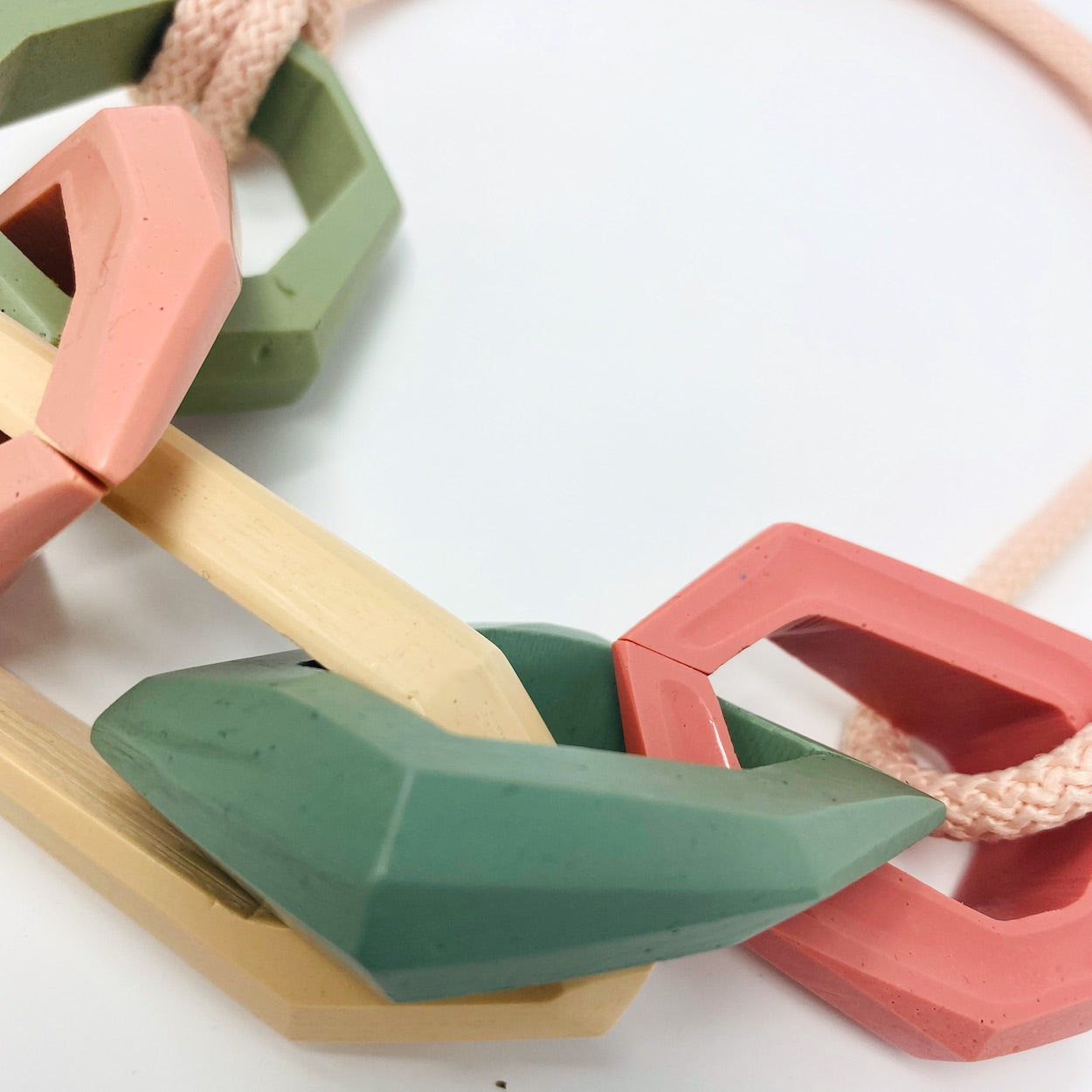 Maca Links Necklace, Pink, Nude and Green