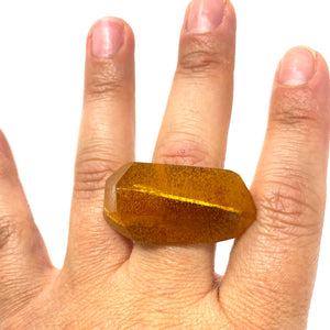 Inner Link Ring, Faux Amber and Silver