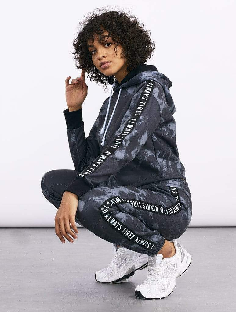 Empire: Always Tired Charcoal Tie Dyed Oversized Joggers - Classier