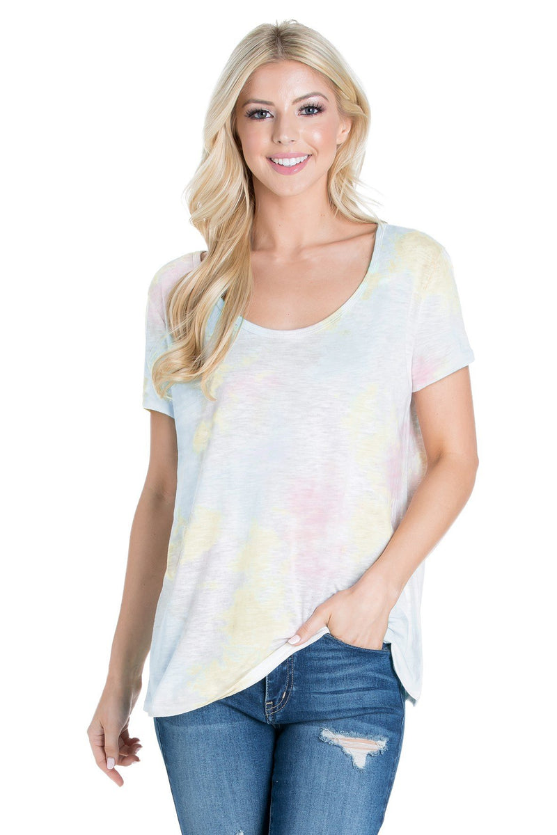 Cotton Tie Dye Short Sleeve Top (6 Pack) - PIKO3091