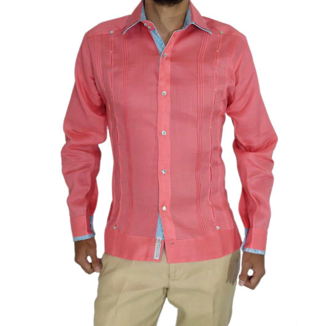OPINTADA GUAYABERA COLOR ROSA 100% LINO CONTRASTES EN AZUL product_description.
