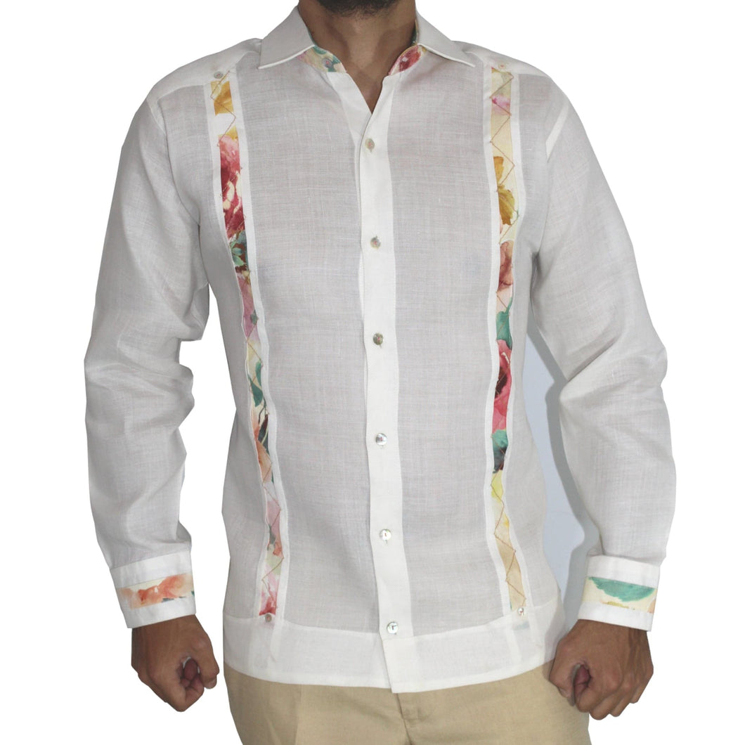 OPINTADA GUAYABERA COLOR BLANCO 100% LINO APLICACION FANTASÍA product_description.
