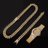 Miami Curb Cuban Gold Necklace+Watch+Bracelet